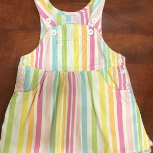Pastel Striped Overall Dress